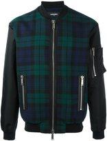 DSQUARED2 tartan pattern bomber jacket - men - Cotton/Calf Leather/Polyamide/Wool - 50