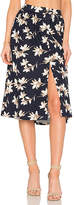 J.o.a. Flower Print Midi Skirt in Blue