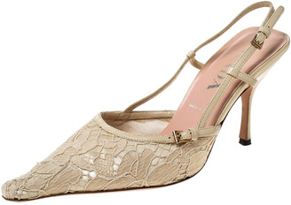 Prada Beige Lace/Satin Slingback Pointed Toe Sandals Size 36.5