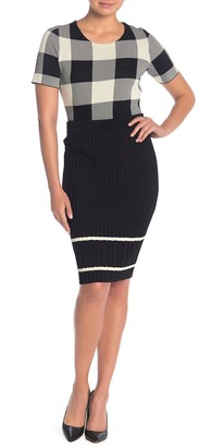 Rachel Roy Eden Ribbed Knit Stripe Pencil Skirt