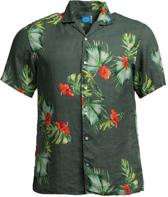 Panareha Honolulu Linen Aloha Shirt Green