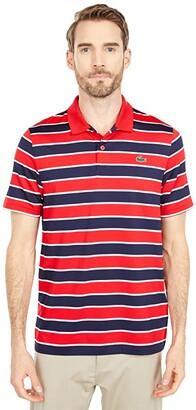 Lacoste Short Sleeve Horizontal Large Stripe Polo (Cosmic/Navy Blue) Men's Clothing