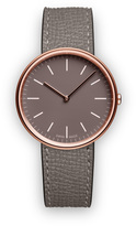 Uniform Wares M35 Women's two-hand watch in PVD rose gold with grey textured calf leather strap