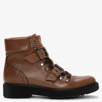 Alba Moda Brown Leather Ankle Boots