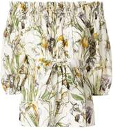 Alexander McQueen floral print off the shoulder blouse