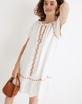 Madewell Embroidered Linen-Blend Raglan Ruffle Mini Dress
