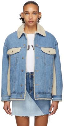 Sjyp Blue Denim Sherpa Jacket