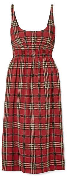 Emilia Wickstead Giovanna Smocked Tartan Crepe Midi Dress - Claret