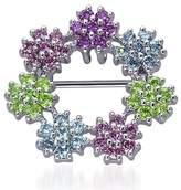 Peora Sterling Silver Rhodium Nickel Finish Multi Colored Cubic Zirconia Daisy Wreath Brooch