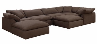 Sunset Trading Cloud Puff 7 Piece Slipcovered Modular Sectional Sofa with Ottomans| Performance Fabric | Brown