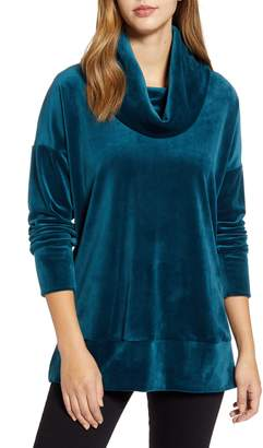 Loveappella Velvet Cowl Neck Tunic Top