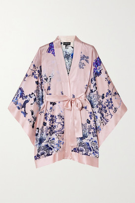 MENG Floral-print Silk-satin Robe - Pink