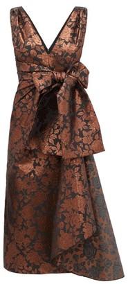 Erdem Rosalie Sash Waist Floral Brocade Tea Dress - Womens - Brown Multi