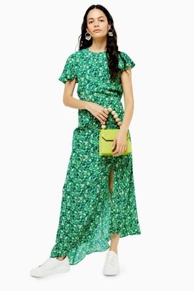 Topshop Womens Tall Ditsy Print Midi Dress - Green