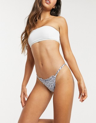 Topshop hi leg bikini pant with frill detail in white