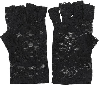 Sanwood New Party Sexy Dressy Women Lace Gloves Mittens Fingerless (White)