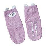 Sunfei Winter Toddlers Kids Girls Cute Animals Pattern Socks Cotton (M, Purple)