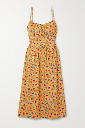 HVN Lucy Gathered Printed Cotton-blend Poplin Midi Dress - Mustard