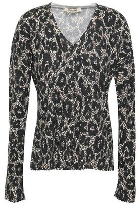 Roberto Cavalli Scalloped Leopard-print Knitted Cardigan