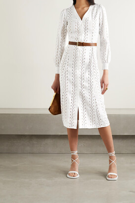 MICHAEL MICHAEL KORS - Belted Hemp, Cotton And Guipure Lace Midi Dress - White