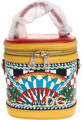 Dolce & Gabbana Multicolor Leather Sicilian Carretto Girls Vanity Crossbody Bag