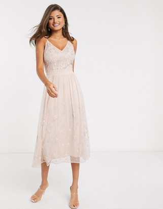 Frock and Frill embellished maxi dress in pink