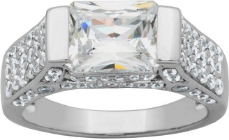 Diamonique Sterling 3.90cttw East/West Radiant-Cut Ring