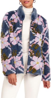 Gorski Layered Mink Fur Jacket W/ Short Nap Mink Fur Collar