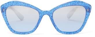 Miu Miu Glittered Square Cat-eye Acetate Sunglasses - Womens - Blue