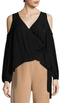 Nicole Miller Coco Wrap Cold Shoulder Top