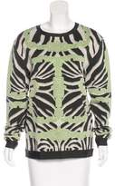 Herve Leger Abstract Patterned Crew Neck Sweater