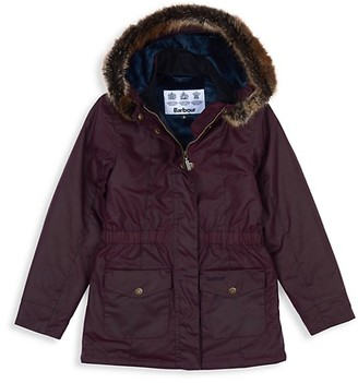 Barbour Little Girl's Girl's Faux Fur Trim Hooded Parka