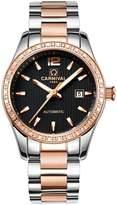 Carnival Women's Analog Luminous and Bezel Inlay Rhinestones Fashion Automatic Mechanical Rose Gold Female Watch