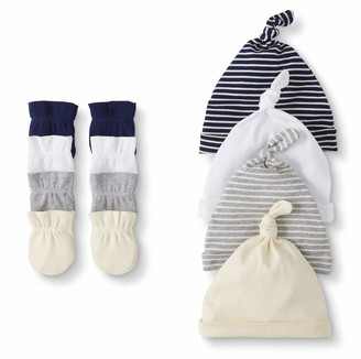 Moon and Back by Hanna Andersson Baby 4-Pack Organic Cotton Cap and Mitten Set