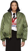 Vetements Reversible Green Alpha Industries Edition Logo Bomber Jacket