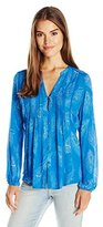 Lucky Brand Women's Feather Print Blouse Top