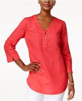 JM Collection Studded Zip-Detail Tunic, Only at Macy's