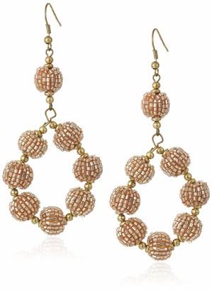 Panacea Women's Champagne Beaded Ball Hoop Earrings One Size