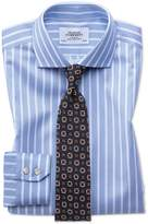 Extra Slim Fit Spread Collar Non-Iron Bengal Wide Stripe Sky Blue and White Cotton Dress Shirt Single Cuff Size 15.5/33 by Charles Tyrwhitt