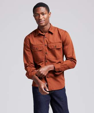 Todd Snyder Italian Two Pocket Utility Long Sleeve Shirt in Chestnut