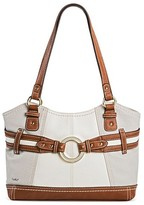 Bolo Women's Faux Leather Tote Handbag with Zip Closure - Light Grey/Bone