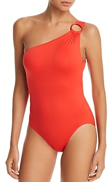 Carmen Marc Valvo One-Shoulder One Piece Swimsuit