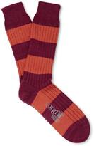 Corgi - Striped Wool And Cotton-blend Socks