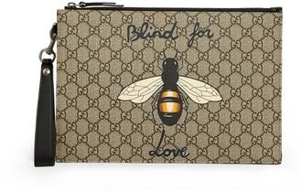 Gucci Gg Supreme Canvas Bee Pouch