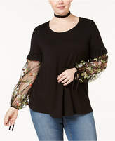 ING Trendy Plus Size Embroidered Illusion-Sleeve Top