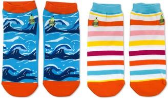 Woven Pear Beach Stripe, Hang Ten Ankle Socks -2 Pack