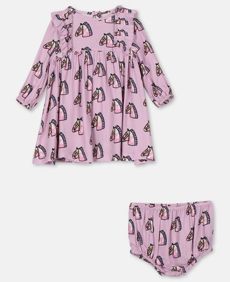 Stella Mccartney Kids Stella McCartney baby horses viscose twill dress