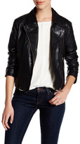Cupcakes And Cashmere Notch Lapel Genuine Leather Front Zip Jacket