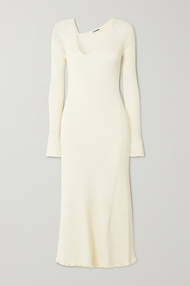 Jil Sander Asymmetric Ribbed Wool-blend Midi Dress - Ivory