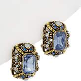 Heidi Daus Emerald Cut Crystal Button Drop Earrings